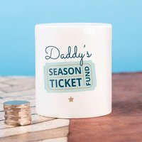 Personalised Ceramic Money Box - Season Ticket Fund - Money Box Gifts