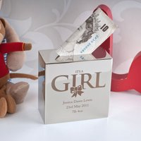 Personalised Silver Money Box - It's A Girl - Money Box Gifts