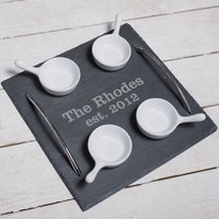 Engraved Slate Serving Tray With 4 Bowls - Established - Bowls Gifts
