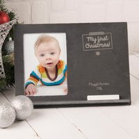 Engraved Slate Chalkboard Photo Frame - My First Christmas