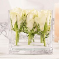 Personalised Square Glass Vase - Any Name - Vase Gifts