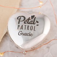 Engraved Heart Compact Mirror - Petal Power - Engraved Gifts