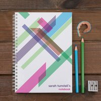 Personalised Notebook - Colour Strips Modernist - Colour Gifts