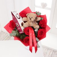 Personalised Red Rose Bouquet With Teddy & Chocolates - Chocolates Gifts