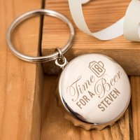 Personalised Bottle Top Keyring With Bottle Opener - Time For A Beer, 18th Birthday