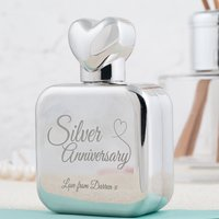 Personalised Perfume Atomiser With Heart Lid - Silver Anniversary - Perfume Gifts