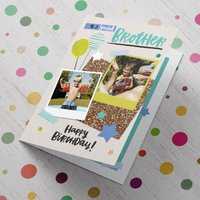 Double Photo Upload Birthday Card - To A Special Brother - Brother Gifts
