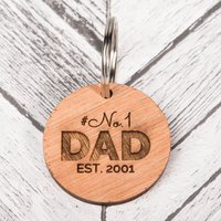 Personalised Wooden Key Ring - #No.1 Dad - Key Ring Gifts