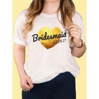 Personalised White T-Shirt - Bridesmaid Gold Heart - Bridesmaid Gifts