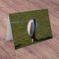 Personalised Card - Rugby Ball - Rugby Gifts