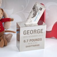 Personalised Silver Money Box - New Baby - Money Box Gifts