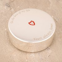 Engraved Red Crystal Heart Silver-Plated Round Jewellery Box - Jewellery Box Gifts