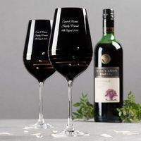Image of Engraved Nero Swarovski® Elements Diamanté Red Wine Glass Set