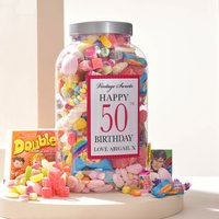 Personalised Retro Sweet Jar - Happy 50th Birthday