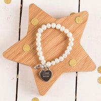 Engraved Teddy Charm Pearl Bracelet - Name & Date - Charm Gifts