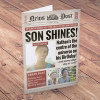 Photo Upload Card - Birthday News, Son Shines! - Son Gifts