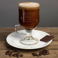 Personalised Irish Coffee Glass With Baileys Miniature - Optimist or Pessimist - Baileys Gifts