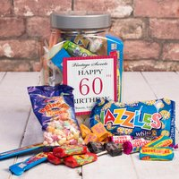 Personalised Retro Sweet Jar - Happy 60th Birthday - 60th Birthday Gifts