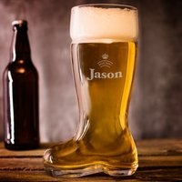 Personalised Beer Boot Glass - Crown - Beer Gifts