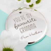 Engraved Round Silver Compact Mirror - My Favourite Grandma - Grandma Gifts