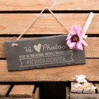 Personalised Hanging Slate Sign - Tag Your Photos - Photos Gifts