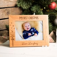 Engraved Wooden Photo Frame - First Christmas, Signpost