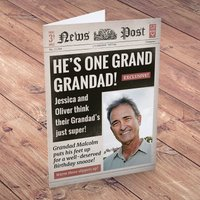 Photo Upload Card - Birthday News, Grand Grandad - Grandad Gifts