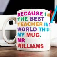 Personalised Mug - World's Best Teacher - Cutlery Gifts