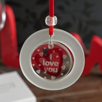 Spaceform Linked Glass Keepsake - 'I Love You' Red Heart - Keepsake Gifts