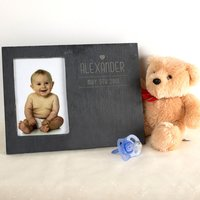 Engraved Slate Chalkboard Photo Frame - Baby Date