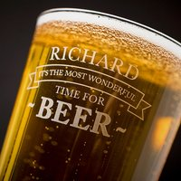 Personalised Pint Glass - It's The Most Wonderful Time For Beer - Beer Gifts