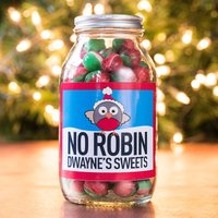 Personalised Jar Of Rosy Apple Sweets - No Robin My Sweets - Robin Gifts