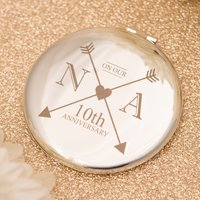 Engraved Round Silver Compact Mirror - 10th Wedding Anniversary