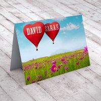Personalised Card - Heart Hot Air Balloons - Balloons Gifts