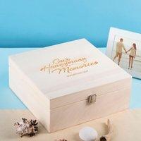 Personalised Wooden Storage Box - Our Honeymoon Memories - Memories Gifts