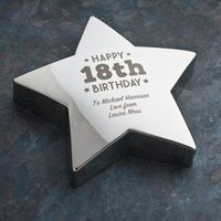 Engraved '18th Birthday' Silver Star Paperweight - 18th Gifts