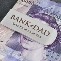 Engraved Silver-Plated Money Clip - Bank Of Dad