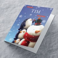 Personalised Card - Snowman & Penguins - Penguins Gifts