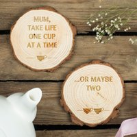 Wooden Tree Carving Coasters - One Cup At A Time - Cup Gifts