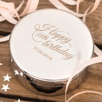 Engraved Circular Trinket Box - Happy 18th Birthday