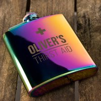 Personalised Silver Blush Hip Flask - Thirst Aid - Hip Flask Gifts