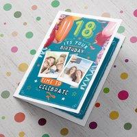 Multi Photo Upload 18th Birthday Card - Balloons - Balloons Gifts