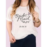 Personalised White T-Shirt - Floral Bridesmaid - Bridesmaid Gifts