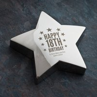 Engraved Silver Star Paperweight - 18th Birthday - 18th Gifts