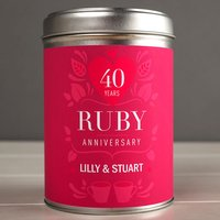 Personalised Tea Tin - 40 Years Ruby Anniversary - Ruby Wedding Anniversary Gifts