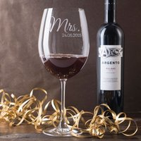 Engraved Giant Wine Glass - Mrs - Wine Glass Gifts