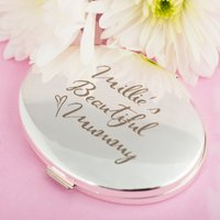 Engraved Silver Oval Compact Mirror - Beautiful Mummy - Beautiful Gifts