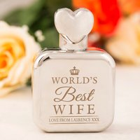 Personalised Perfume Atomiser With Heart Lid - Worlds Best Wife - Perfume Gifts