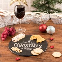 Personalised Circular Slate Cheese Board - Home For Christmas - Cheese Board Gifts
