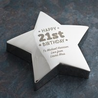 Engraved '21st Birthday' Silver Star Paperweight - 21st Gifts